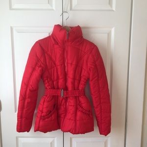 Rampage Red Puffer Jacket Cinched Waist EUC Size S